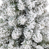 4.5' Flocked Pencil Artificial Christmas Tree with 100 Clear Lights and 216 Bendable Branches in Tower Planter