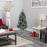 4.5' Frosted Tip British Columbia Mountain Pine Artificial Christmas Tree with 100 Clear Lights, Pine Cones and 228 Bendable Branches in Decorative Urn