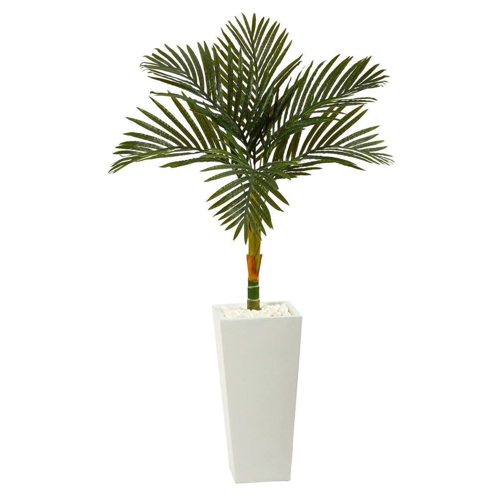 4.5' Golden Cane Artificial Palm Tree in Tall White Planter