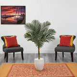 4.5' Golden Cane Artificial Palm Tree in White Planter