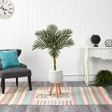 4.5' Golden Cane Artificial Palm Tree in White Planter with Stand