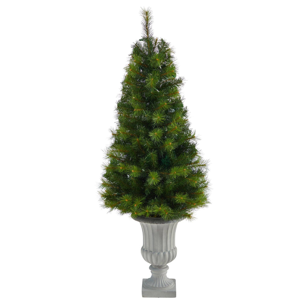 4.5' Green Valley Pine Artificial Christmas Tree with 100 Warm White LED Lights and 201 Bendable Branches in Decorative Urn