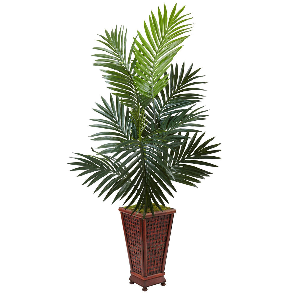 4.5' Kentia Palm Tree in Decorative Wood Planter