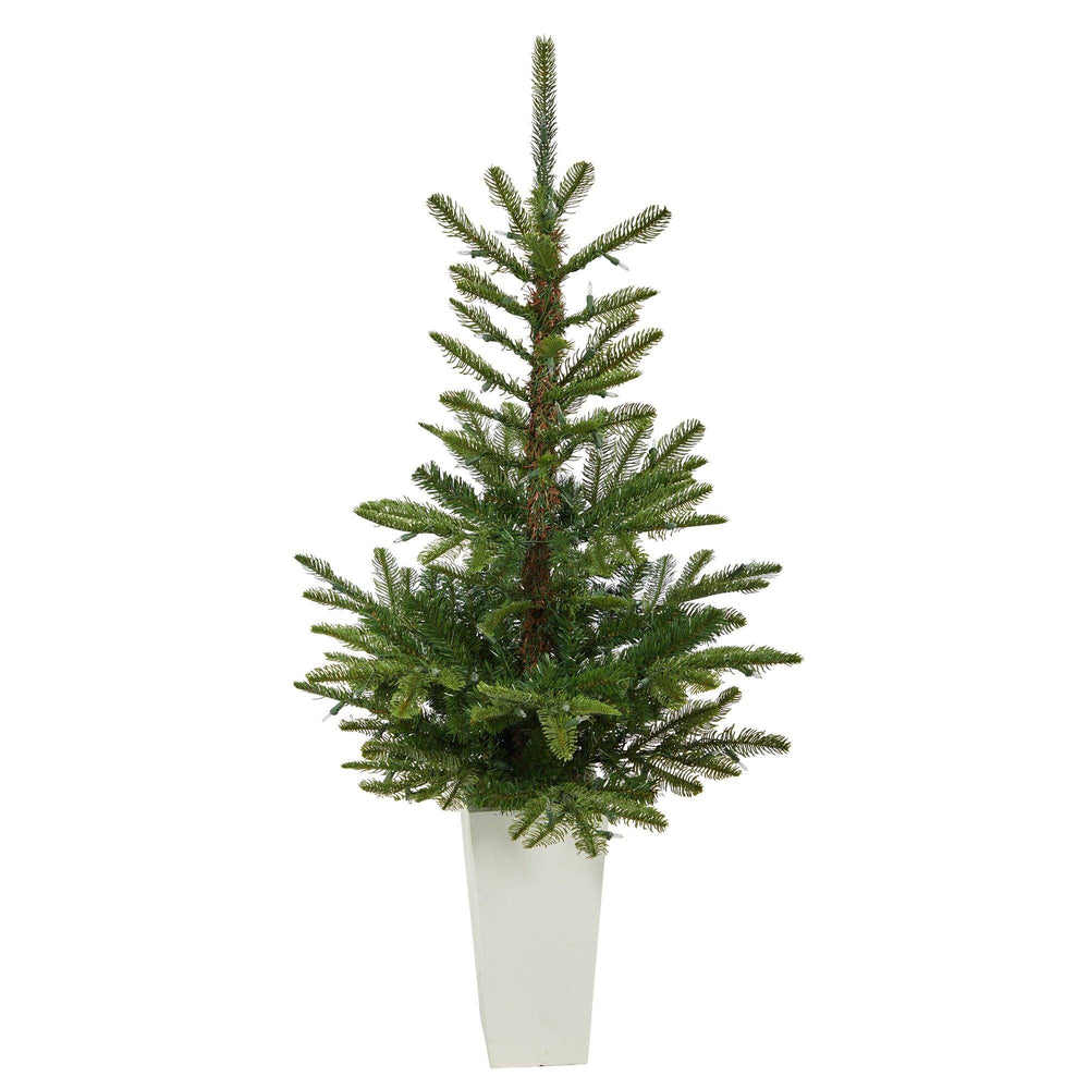 4.5' Layered Washington Spruce Artificial Christmas Tree with 100 Clear LED Lights and 189 Bendable Branches in White Planter