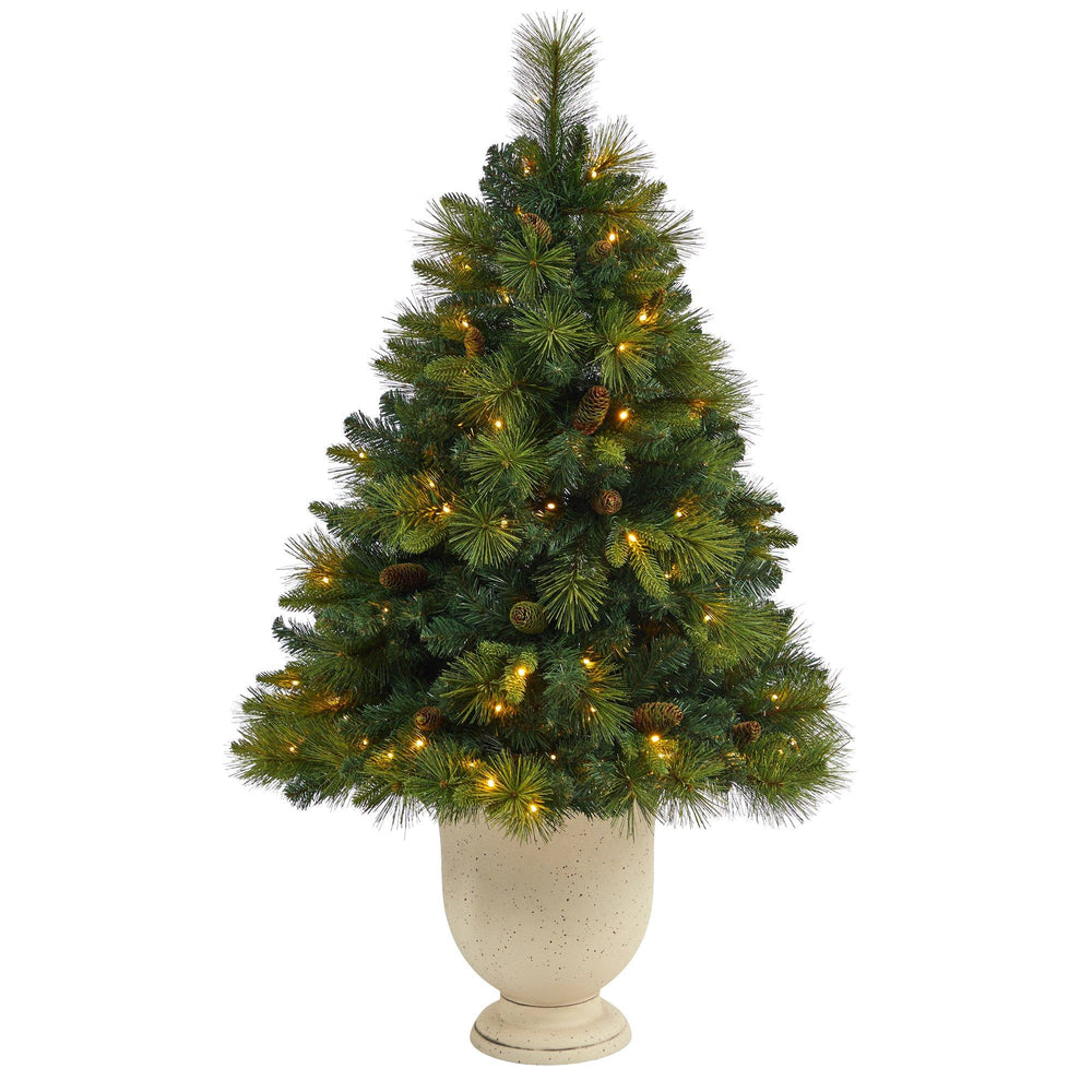 4.5' North Carolina Mixed Pine Artificial Christmas Tree with 130 Warm White LED Lights, 459 Bendable Branches and Pinecones in Decorative Urn