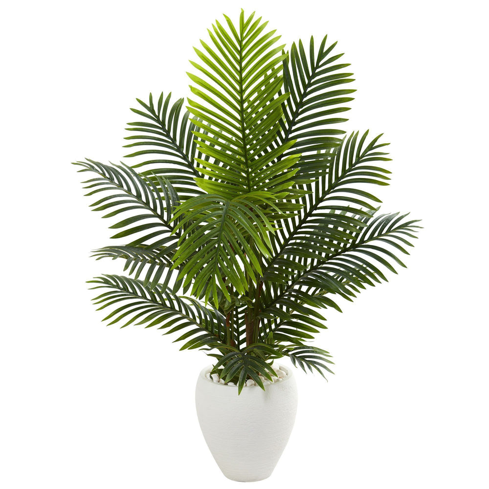 4.5' Paradise Palm Artificial Tree in White Planter