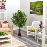 4.5' Super Deluxe Ficus Artificial Tree with Natural Trunk