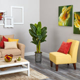 4.5' Triple Stalk Artificial Banana Tree in Vintage Metal Planter (Real Touch)