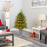 "4.5' Vancouver Fir ""Natural Look"" Artificial Christmas Tree with 250 Clear LED Lights and 814 Bendable Branches in Decorative Planter"