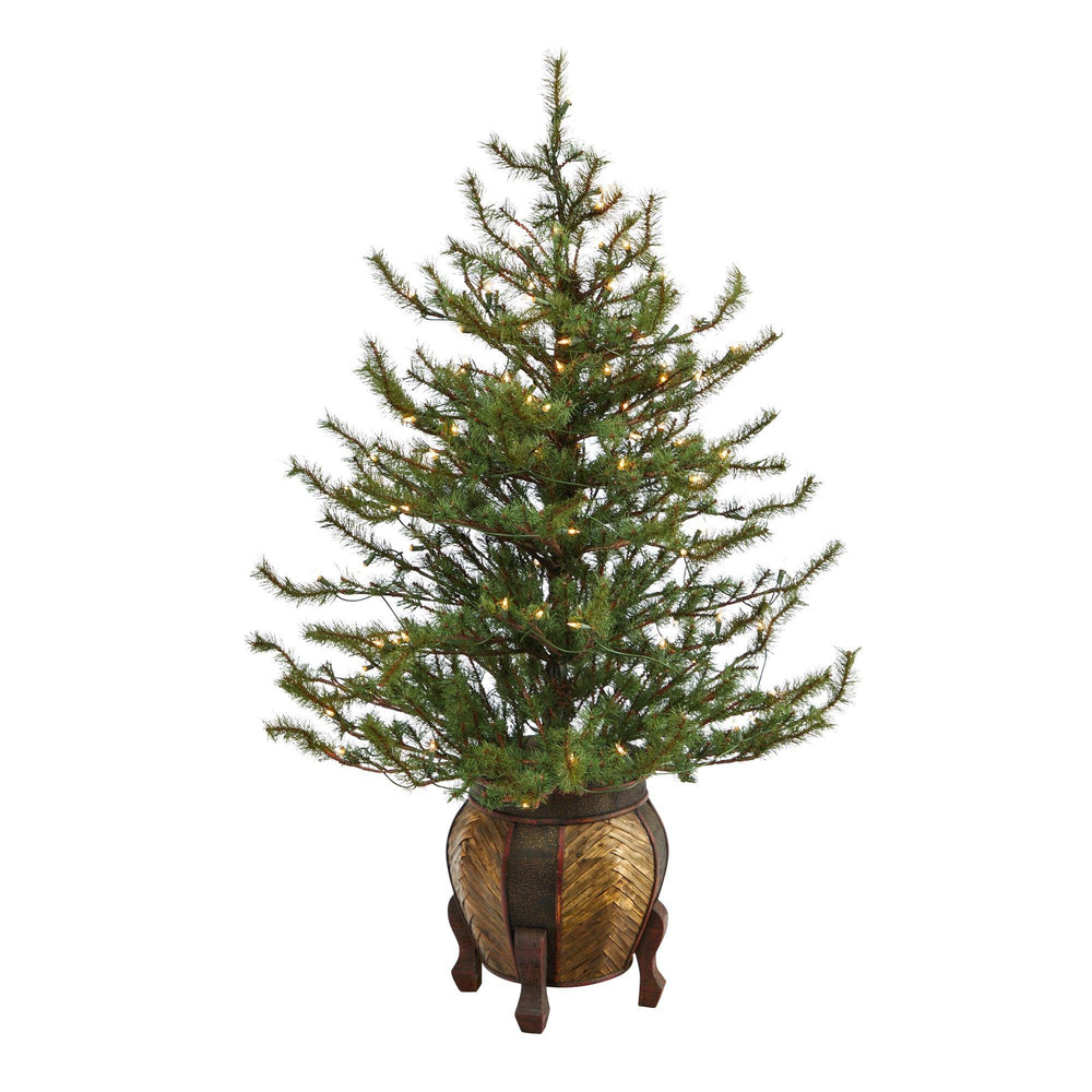 4.5' Vancouver Mountain Pine Artificial Christmas Tree with 100 Clear Lights and 374 Bendable Branches in Decorative Planter