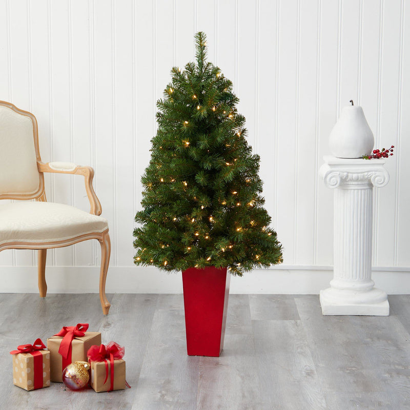 4.5' Virginia Fir Artificial Christmas Tree with 100 Clear Lights and 223 Bendable Branches in Red Planter