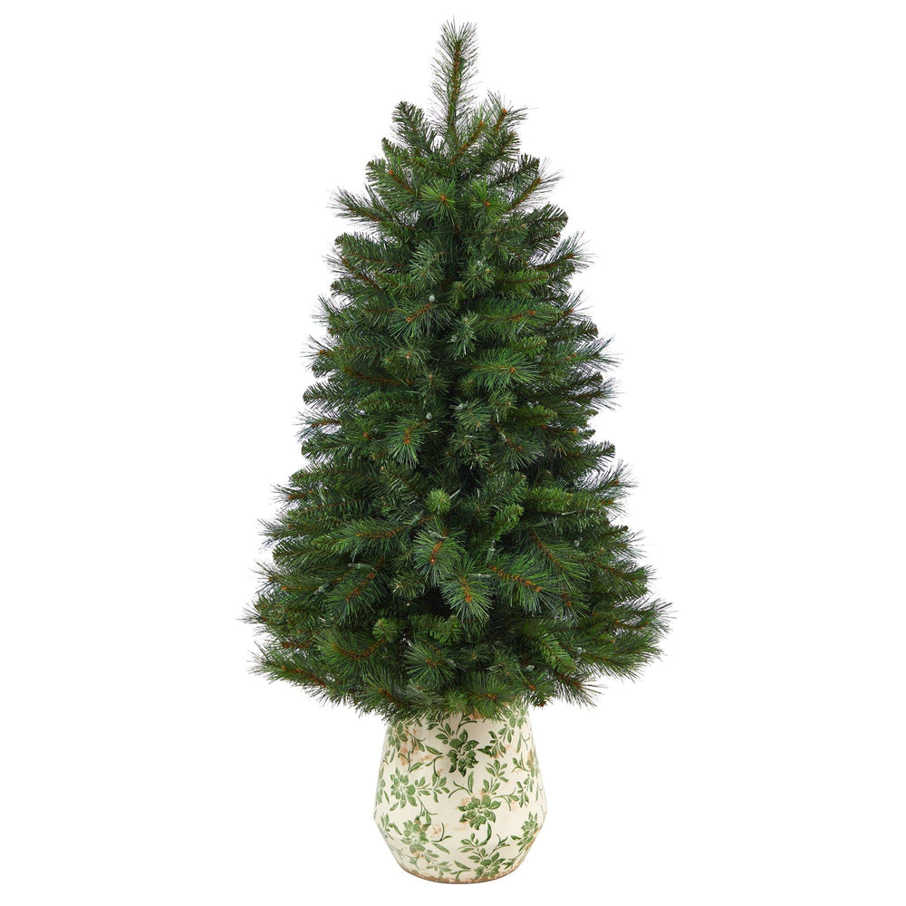 4.5' West Virginia Mountain Pine Artificial Christmas Tree with 100 Clear Lights and 322 Bendable Branches in Floral Print Planter