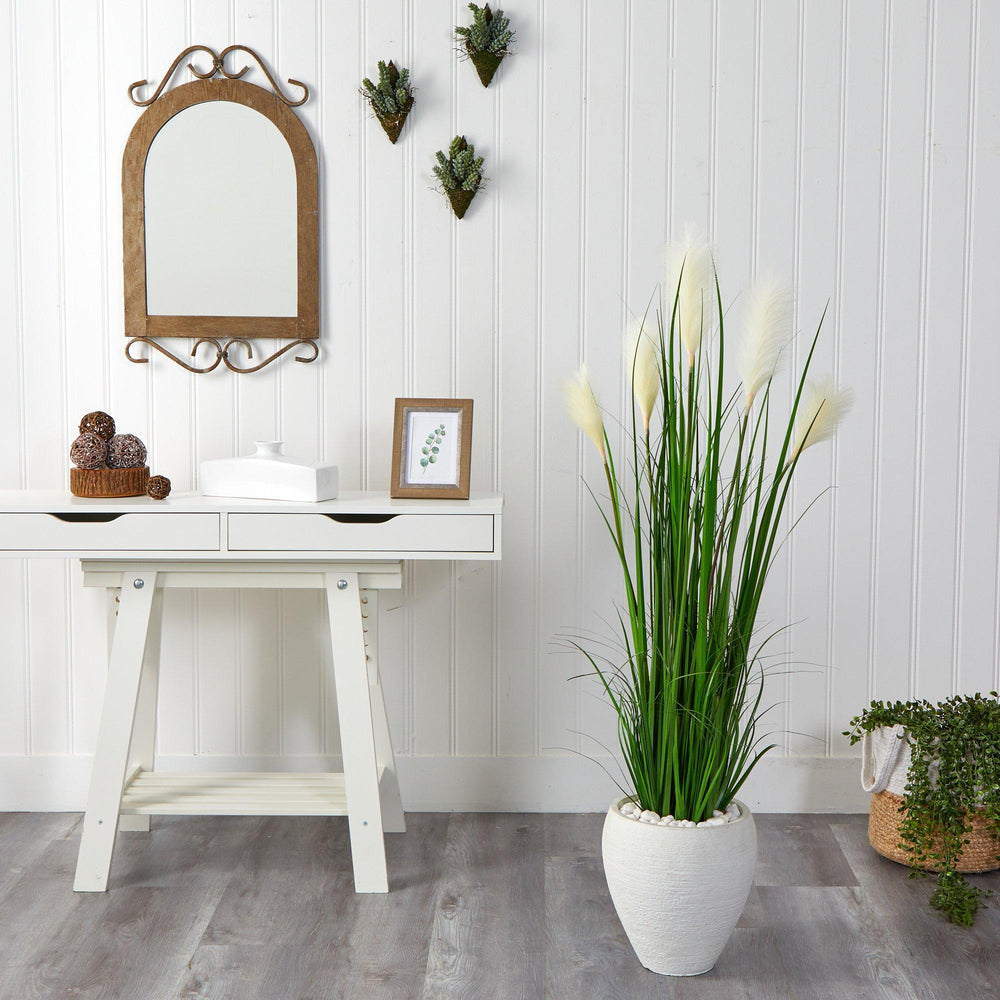 4.5' Wheat Plum Grass Artificial Plant in White Planter