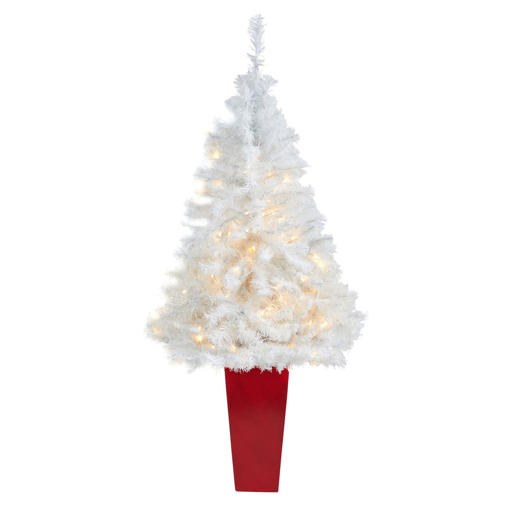 4.5' White Artificial Christmas Tree with 100 Clear LED Lights in Red Planter