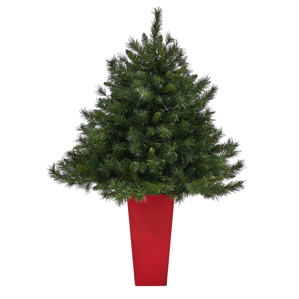 4.5' Wyoming Mixed Pine Artificial Christmas Tree with 250 Clear Lights and 462 Bendable Branches in Red Tower Planter