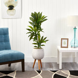 "46"" Dracaena Artificial Plant in White Planter with Stand (Real Touch)"