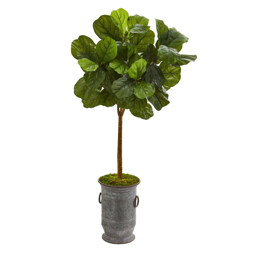 "46"" Fiddle Leaf Artificial Tree in Vintage Metal Planter (Real Touch)"