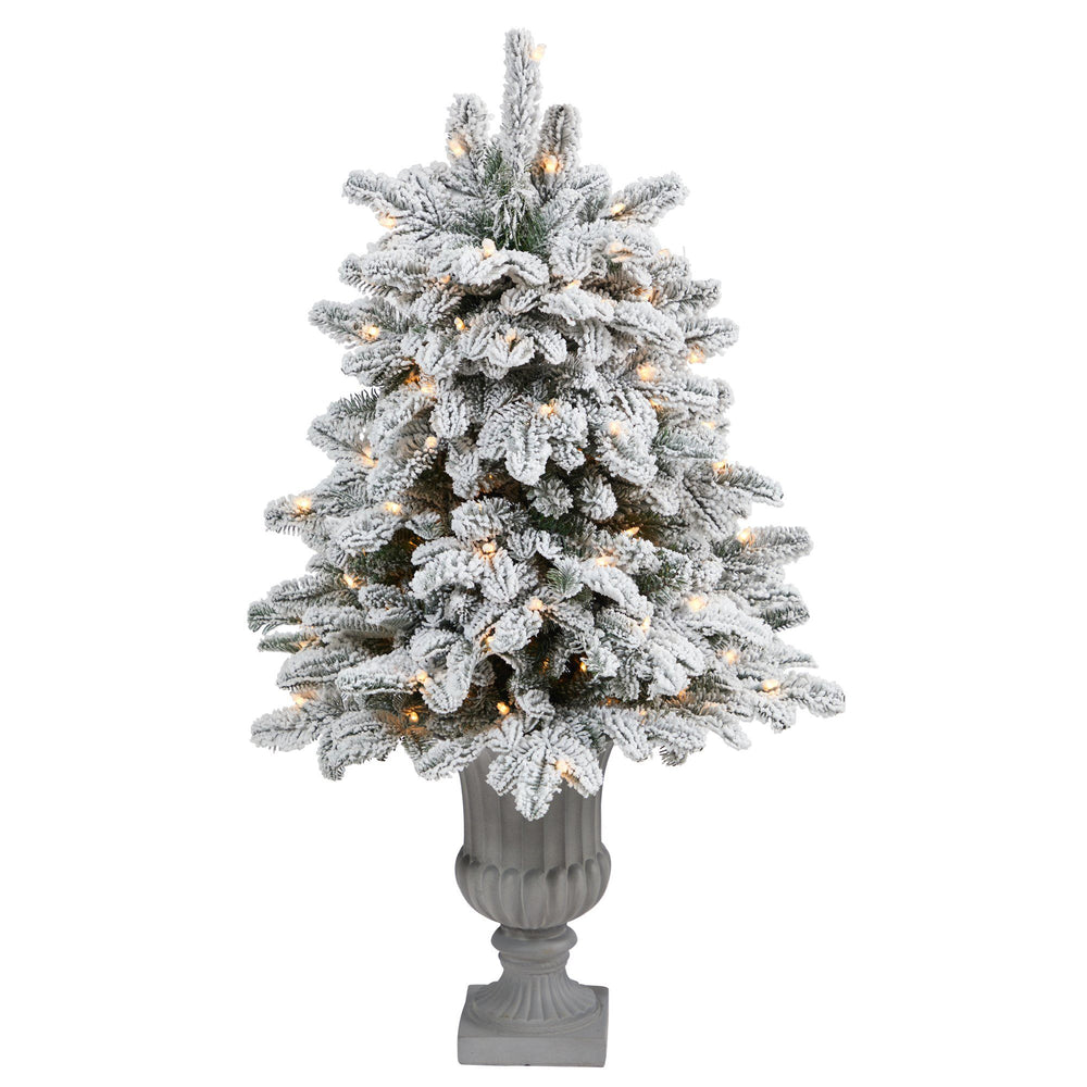 "46"" Flocked North Carolina Fir Artificial Christmas Tree with 150 Warm White Lights and 545 Bendable Branches in Decorative Urn"