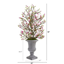 "46"" Magnolia Artificial Arrangement in Decorative Urn"