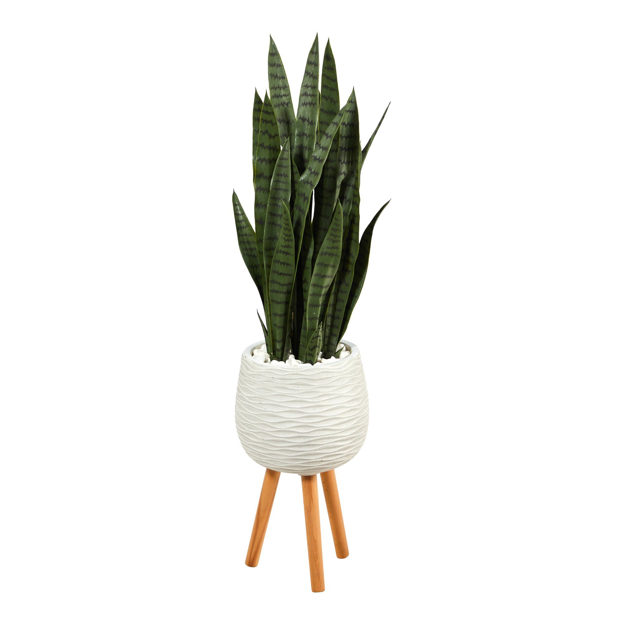 46 Sansevieria Artificial Plant In White Planter With Stand Nearly Natural