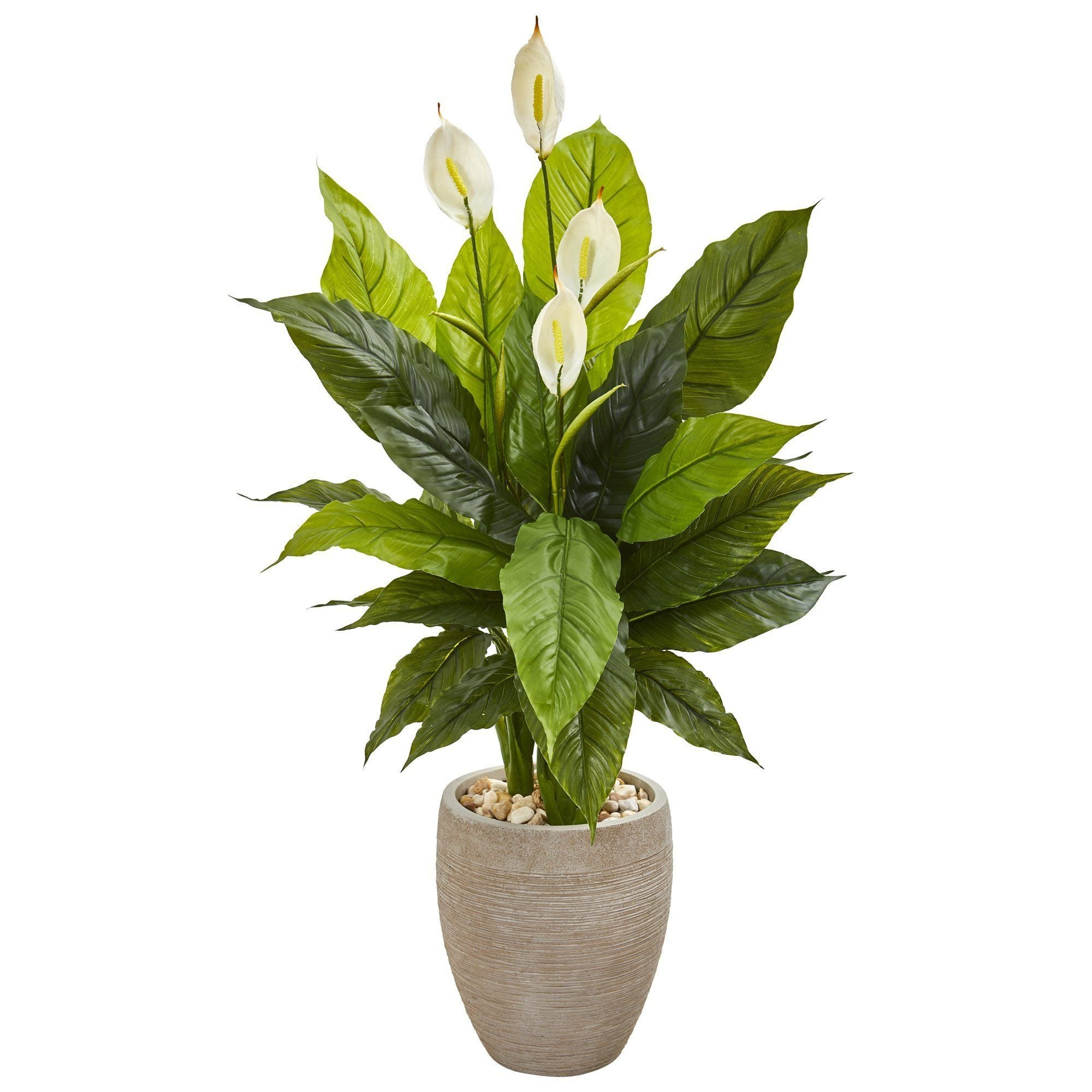 47 Spathiphyllum Artificial Plant In Sand Colored Planter Real Touch Nearly Natural