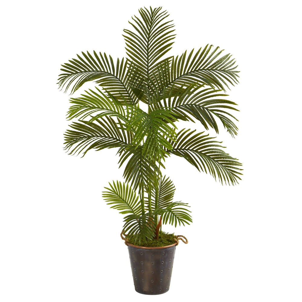 5' Areca Palm Artificial Tree in Decorative Metal Pail with Rope