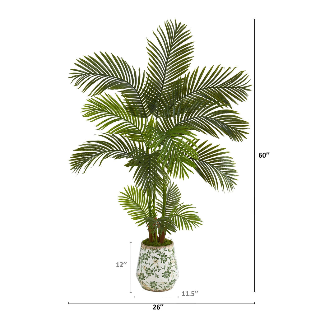 5' Areca Palm Artificial Tree in Floral Print Planter