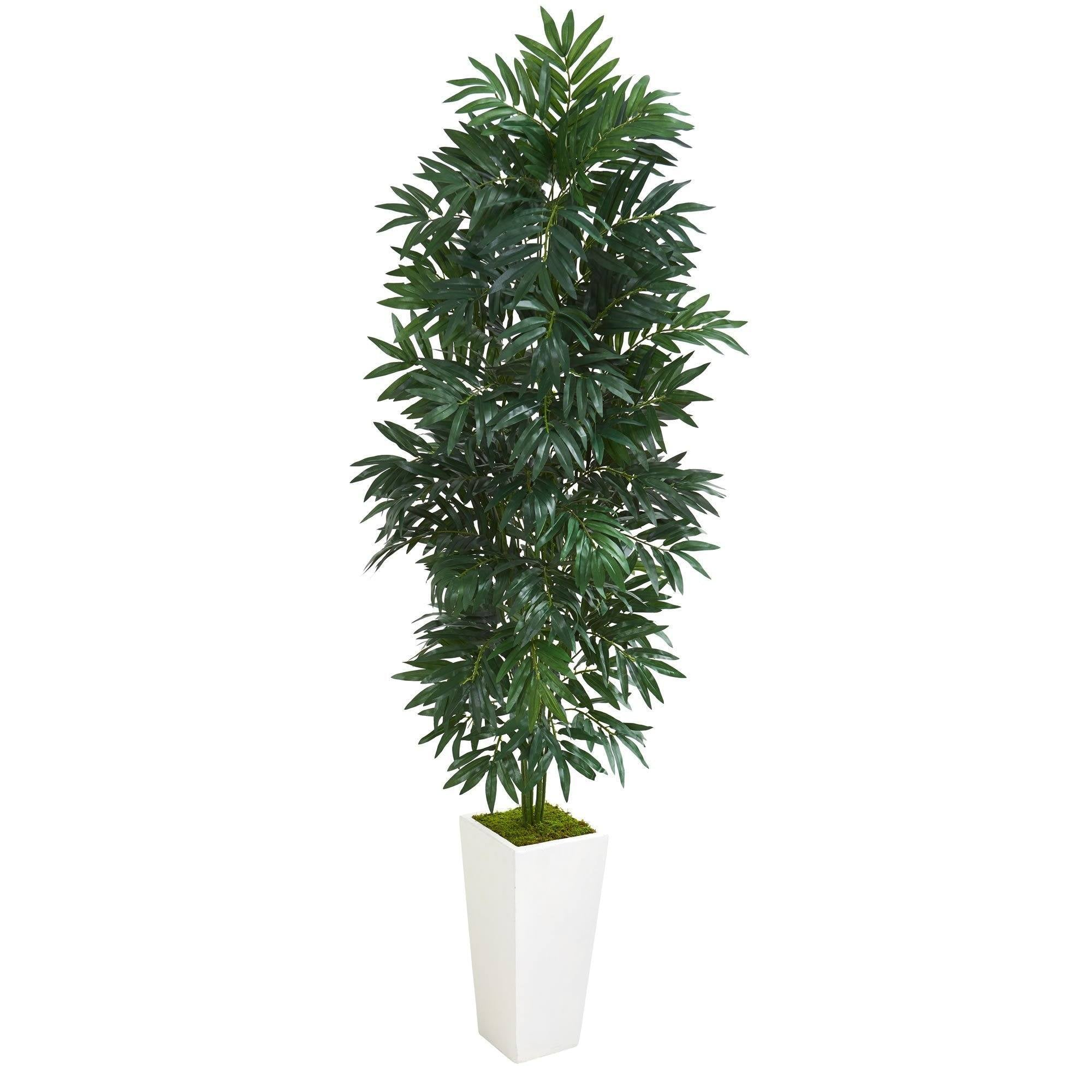 5 Bamboo Palm Artificial Plant In White Planter Nearly Natural