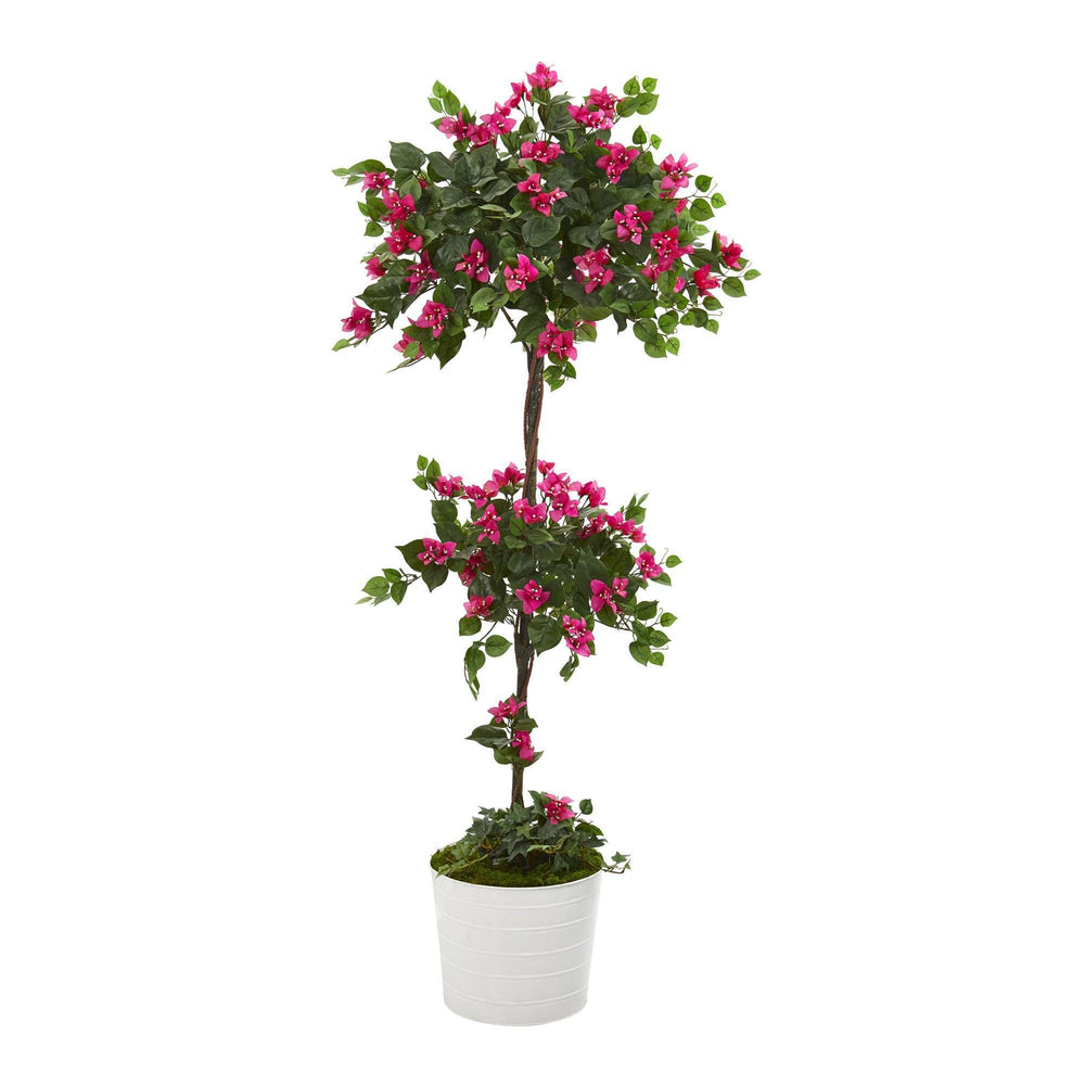 5' Bougainvillea Artificial Topiary Tree in White Tin Planter