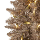5' Champagne Pencil Artificial Christmas Tree with 250 (multifunction) Clear LED Lights and 438 Bendable Branches
