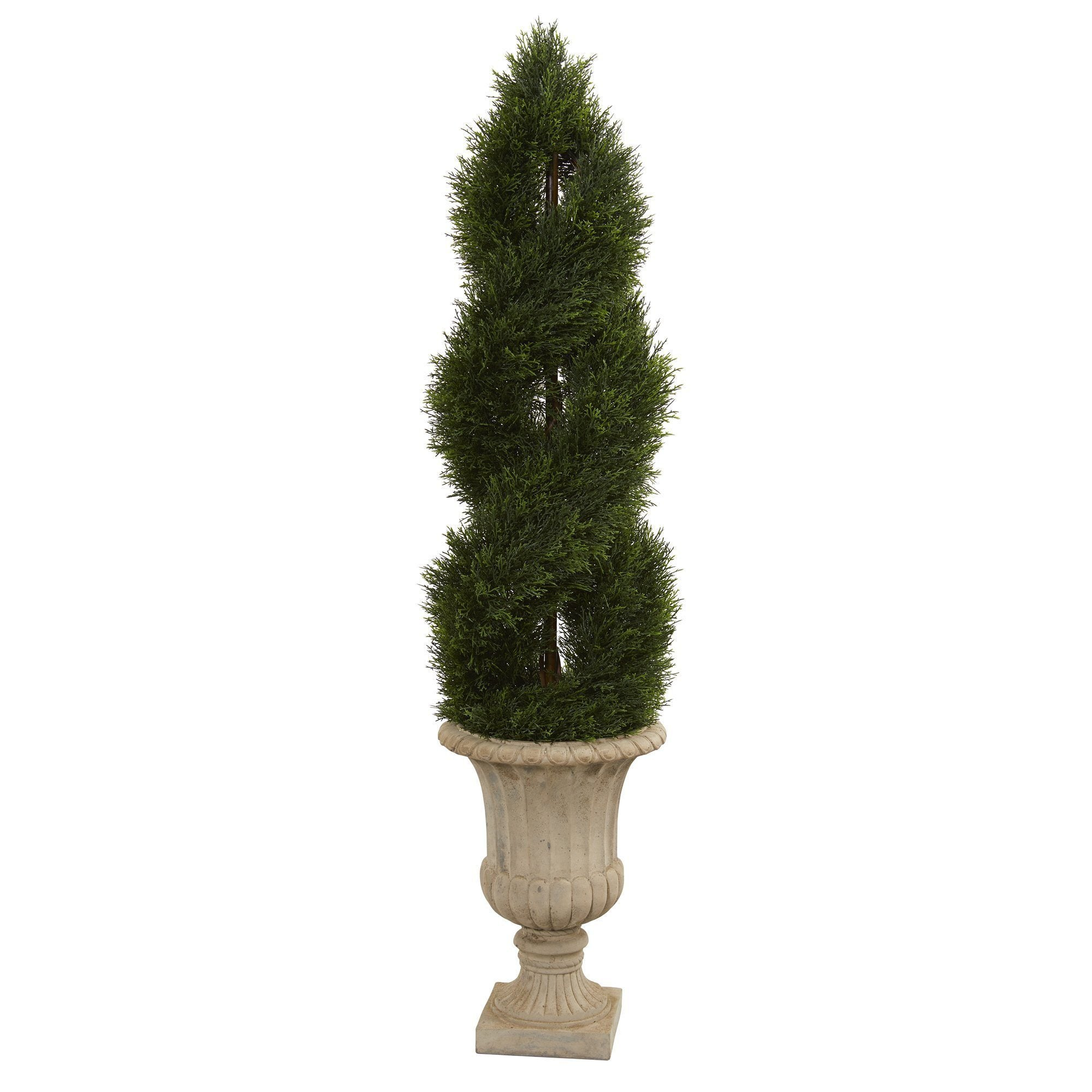 5 Double Pond Cypress Artificial Spiral Topiary Tree In Urn Uv Resistant Indoor Outdoor Nearly Natural