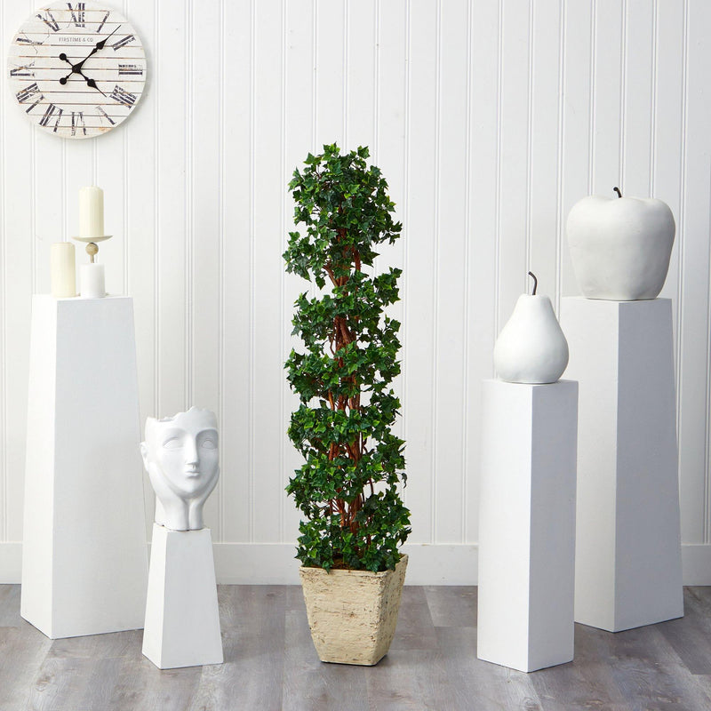 5' English Ivy Topiary Spiral Artificial Tree in Country White Planter UV Resistant (Indoor/Outdoor)