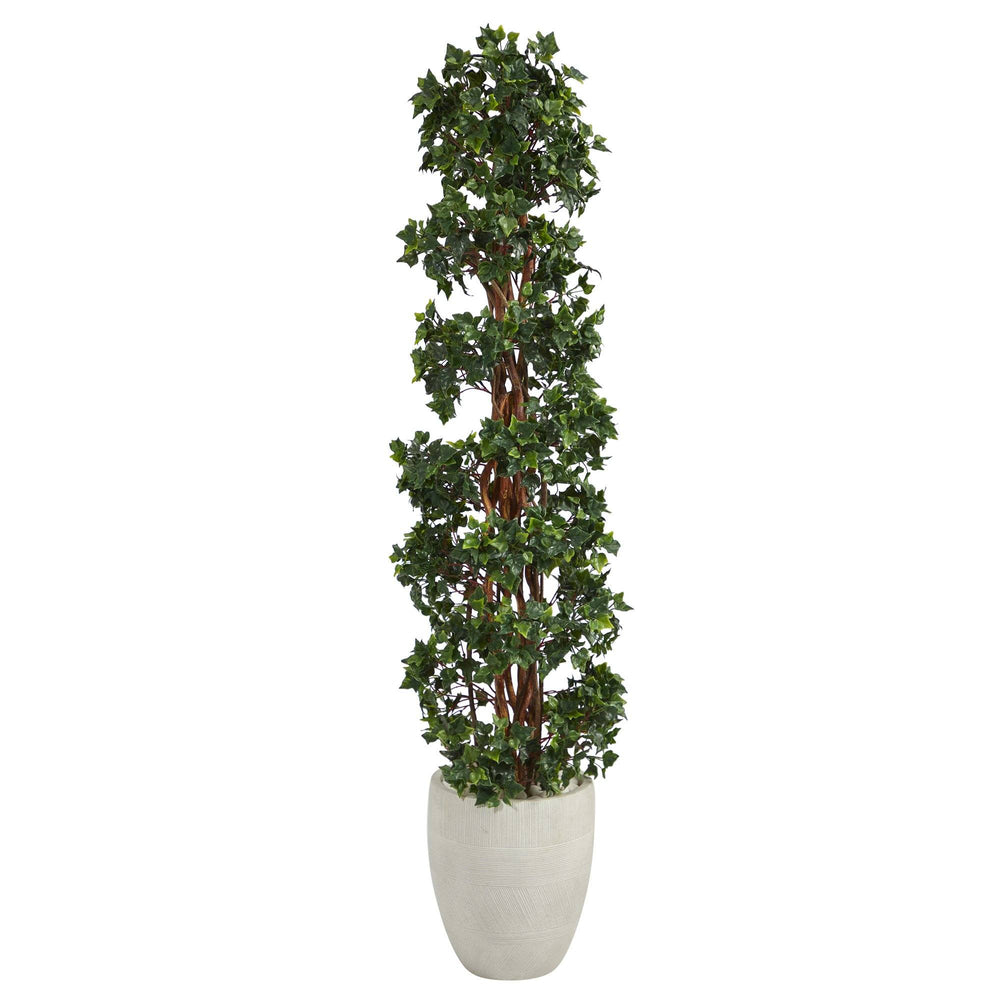 5' English Ivy Topiary Spiral Artificial Tree in White Planter UV Resistant (Indoor/Outdoor)