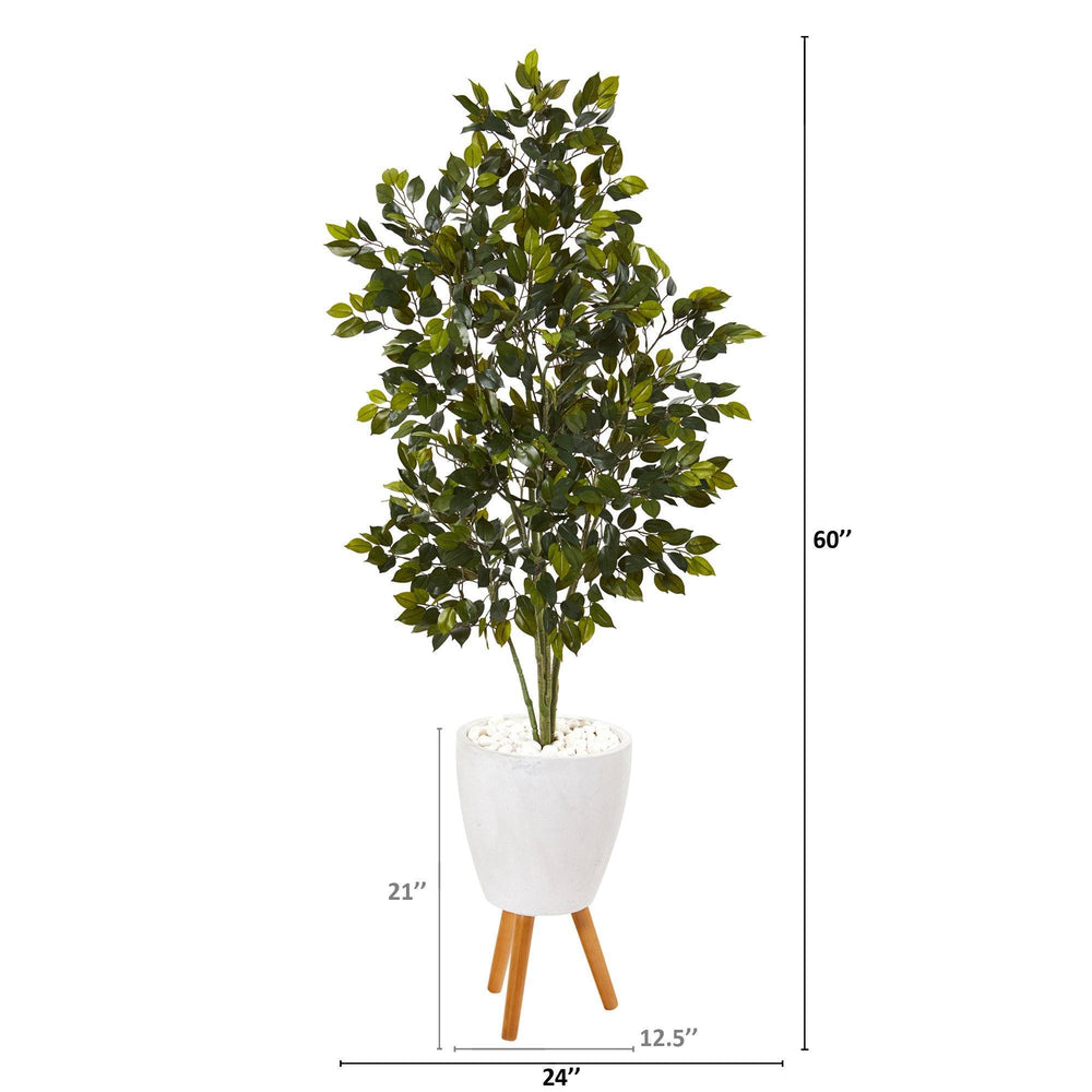 5' Ficus Artificial Tree in White Planter with Stand