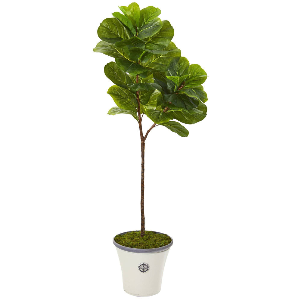 5' Fiddle Leaf Artificial Tree in Decorative Planter (Real Touch)