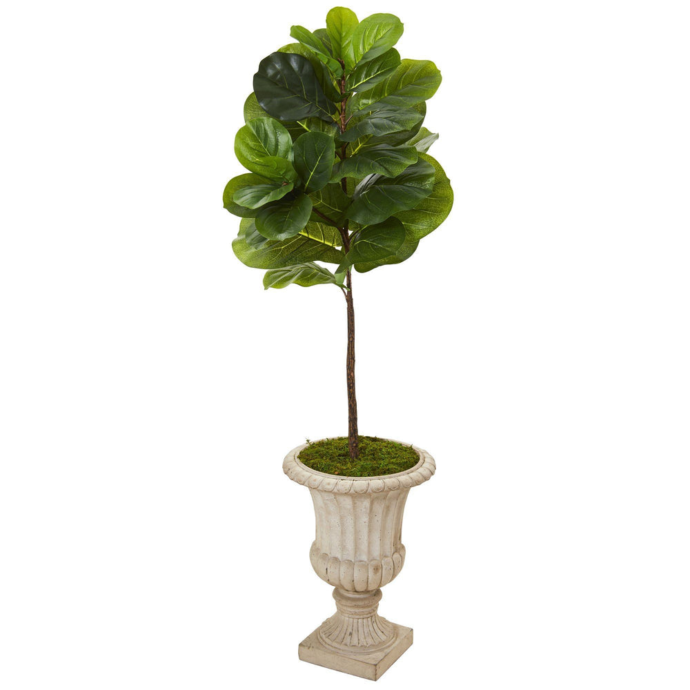 5' Fiddle Leaf Artificial Tree in Sand Finished Urn (Real Touch)