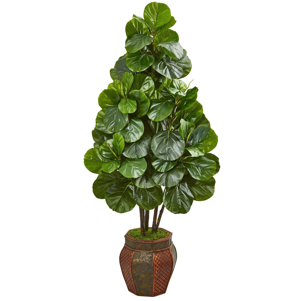 5' Fiddle Leaf Fig Artificial Tree in Decorative Planter