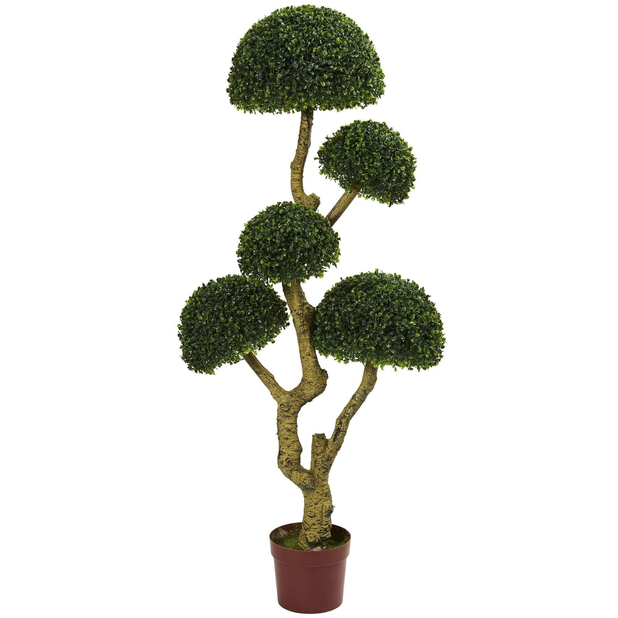 5 Five Head Boxwood Artificial Tree Uv Resistant Indoor Outdoor Nearly Natural
