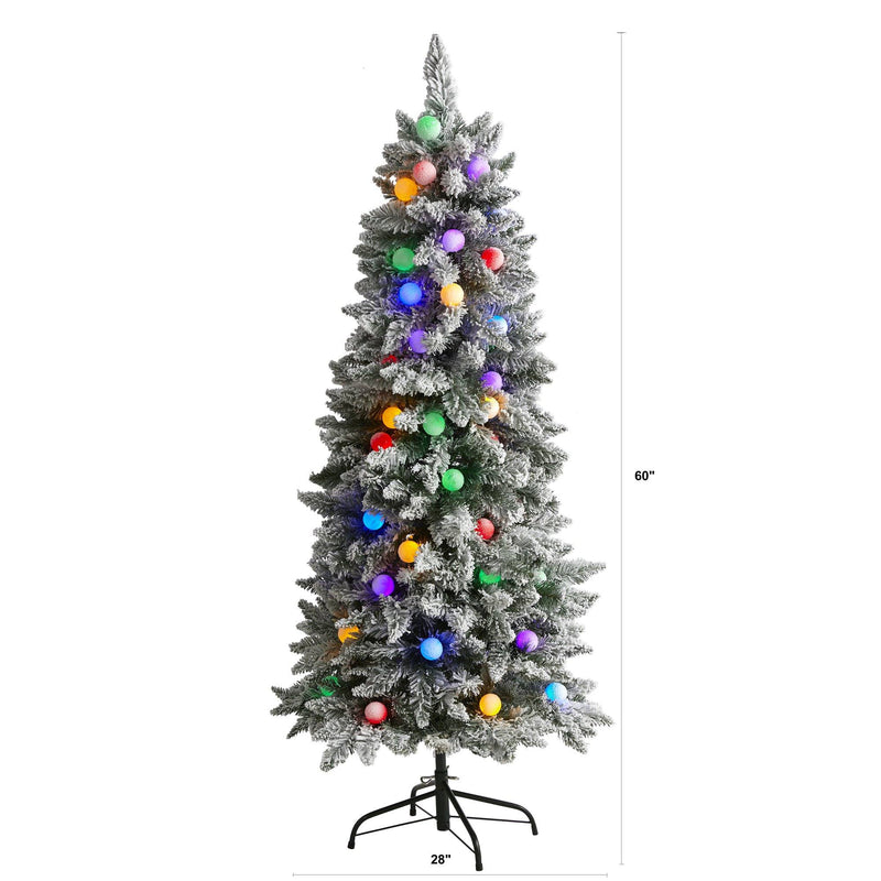5' Flocked British Columbia Mountain Fir Artificial Christmas Tree in Decorative Planter with 50 Multi Color Globe Bulbs and 379 Bendable Branches
