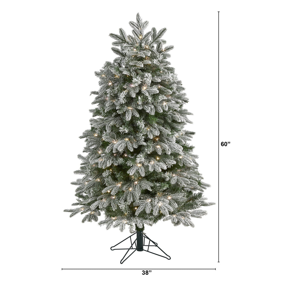 5' Flocked Colorado Mountain Fir Artificial Christmas Tree with 300 Warm White Microdot (Multifunction) LED Lights with Instant Connect Technology and 511 Bendable Branches
