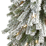 5' Flocked Grand Alpine Artificial Christmas Tree with 200 Clear Lights and 469 Bendable Branches on Natural Trunk
