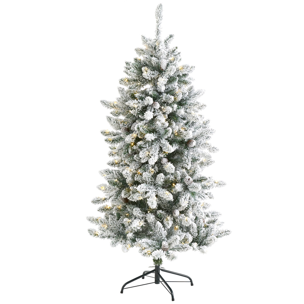 5' Flocked Livingston Fir Artificial Christmas Tree with Pine Cones and 200 Clear Warm LED Lights