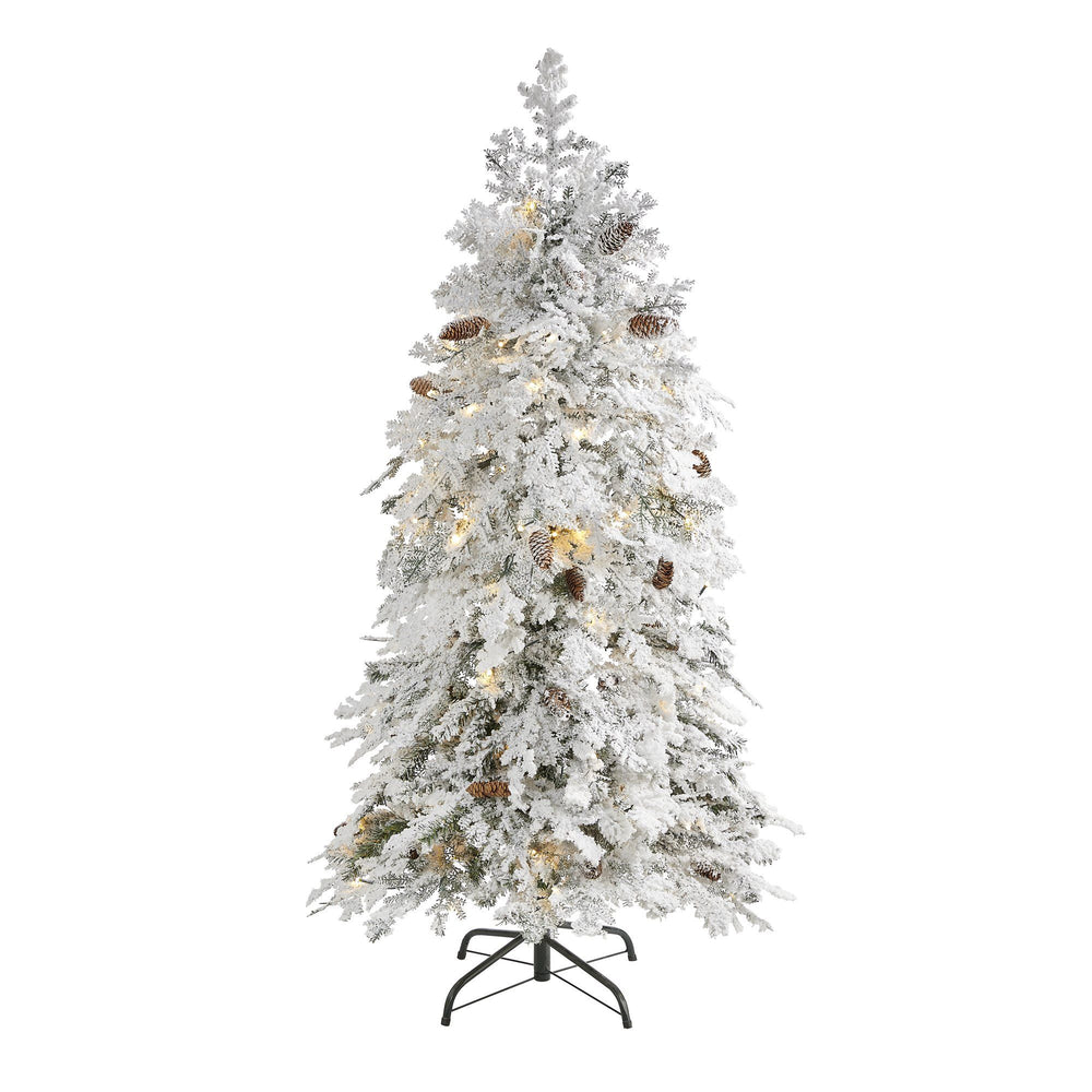5' Flocked Montana Down Swept Spruce Artificial Christmas Tree with 100 Clear LED Lights