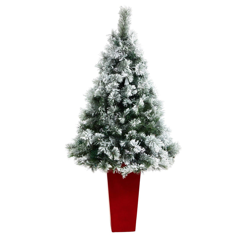 5' Flocked Oregon Pine Artificial Christmas Tree with 100 Clear Lights and 215 Bendable Branches in Red Tower Planter