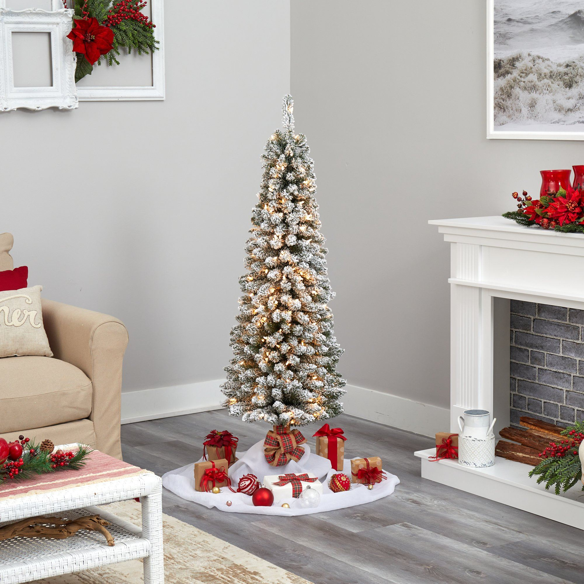 5 Flocked Pencil Artificial Christmas Tree With 200 Clear Lights And 318 Bendable Branches Nearly Natural