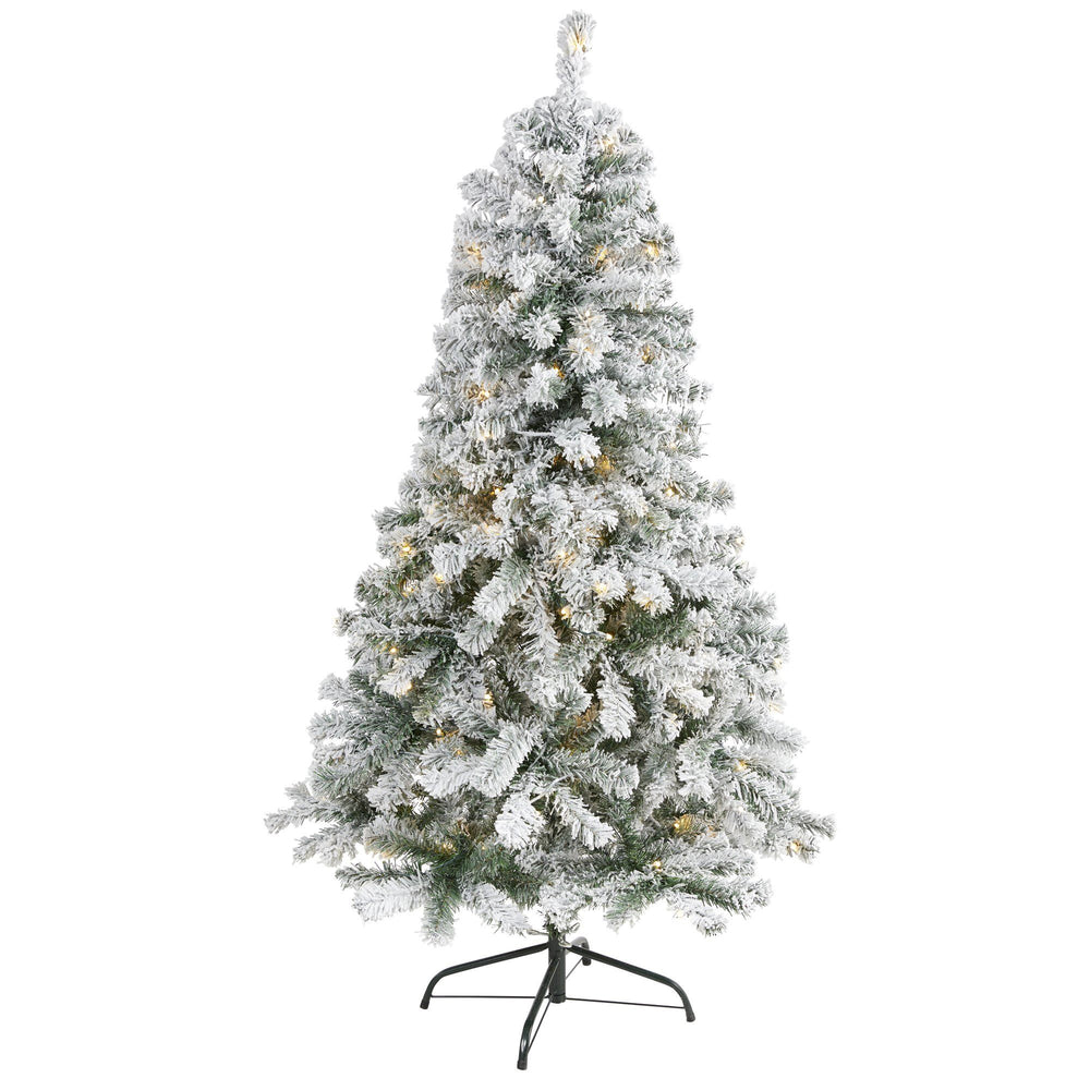 5' Flocked Rock Springs Spruce Artificial Christmas Tree with 150 Clear LED Lights