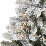 5' Flocked South Carolina Spruce Artificial Christmas Tree with 300 Clear Lights and 621 Bendable Branches