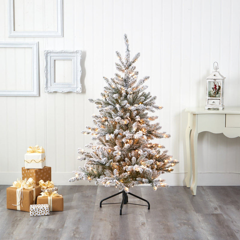 5' Flocked West Virginia Spruce Artificial Christmas Tree with 200 Clear Lights and 604 Bendable Branches