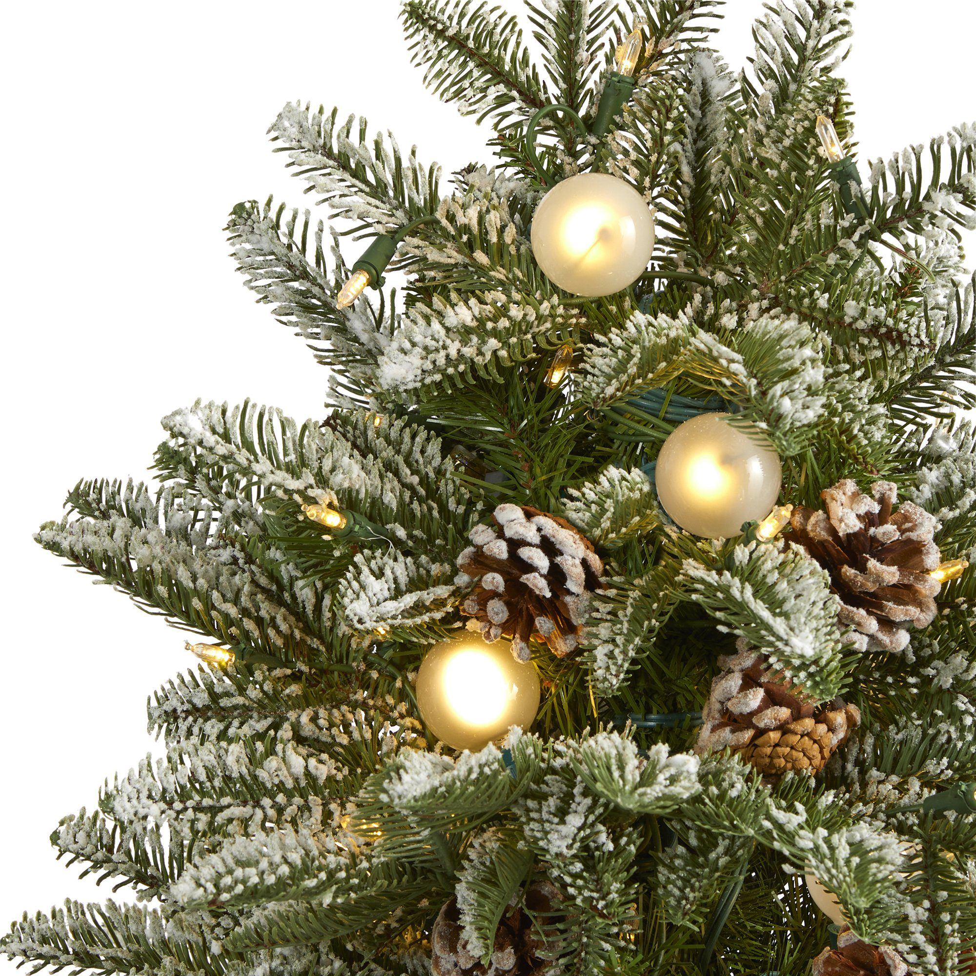 5 Flocked Whistler Mountain Fir Artificial Christmas Tree With 250 Warm White Led Lights With Instant Connect Technology 28 Globe Bulbs Pine Cones And 480 Bendable Branches Nearly Natural
