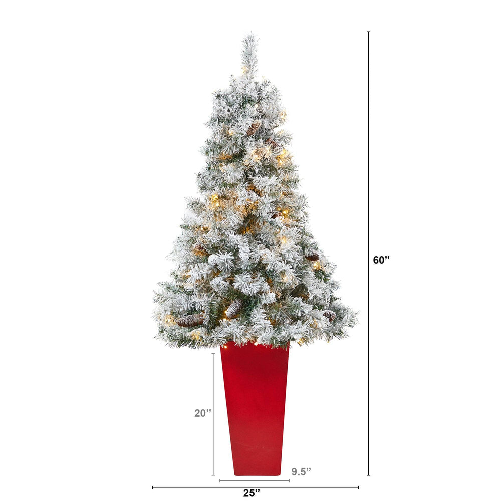 5' Flocked White River Mountain Pine Artificial Christmas Tree with Pinecones and 100 Clear LED Lights in Red Tower Planter